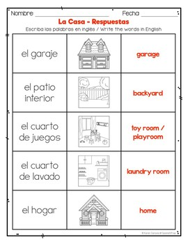 Spanish House: Vocabulary Lists