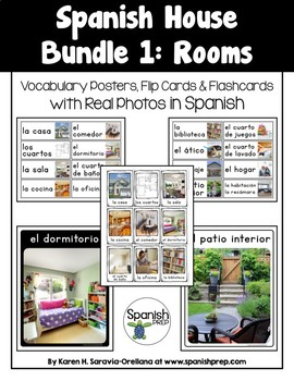 Spanish House: Vocabulary Posters & Flip Cards in Spanish