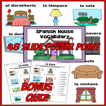Spanish House Vocabulary Notes and Practice Powerpoint BUNDLE
