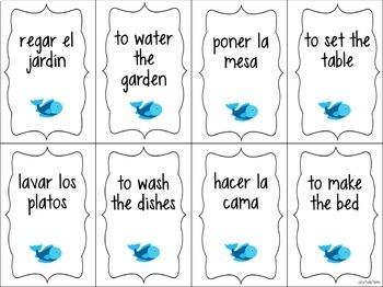 Spanish House and Chore Vocabulary ¡Pesca! (Go Fish) Game
