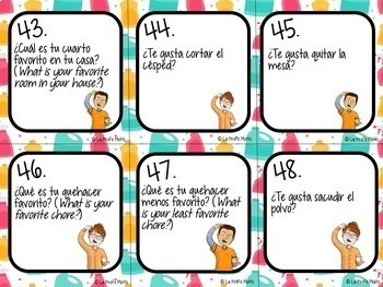 48 Spanish House and Chores Task Cards