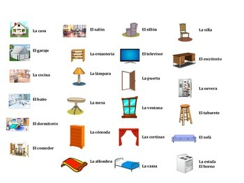 Spanish House and Furniture Vocabulary Game (Ve a pescar-Go Fish)