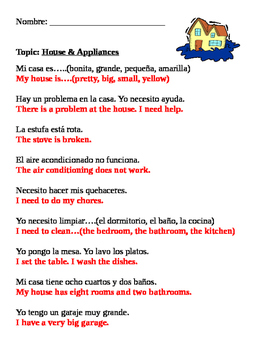 Spanish: House and Home Vocabulary