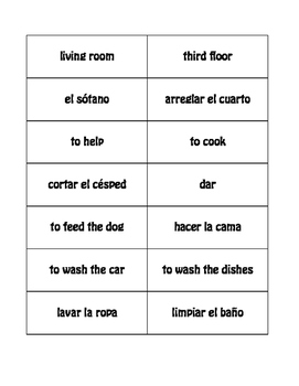 Spanish Household Chores Buzz Game