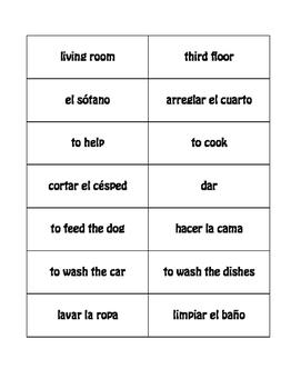 Spanish Household Chores Buzz Game