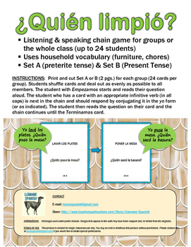 Spanish Household Chores Speaking Chain Game