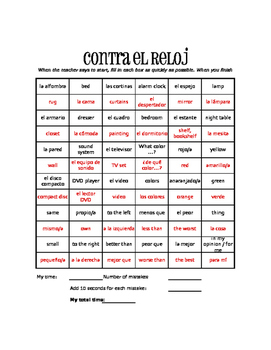 Spanish Household Items Against the Clock