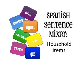 Spanish Household Items Sentence Mixer