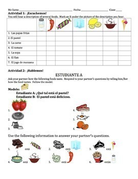 Spanish How Foods Taste Lesson with Estar