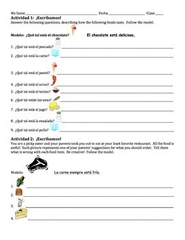 Spanish How Foods Taste Writing Activities with Estar