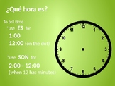 Spanish How to Tell Time Notes