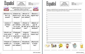 Spanish Human Bingo Game Speaking and Written Follow-up Bundle of 10