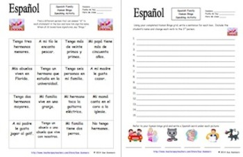Spanish Human Bingo Game Speaking and Written Follow-up Bundle of 10