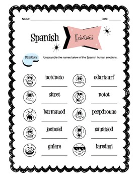 Spanish Human Emotion Words Worksheet Packet