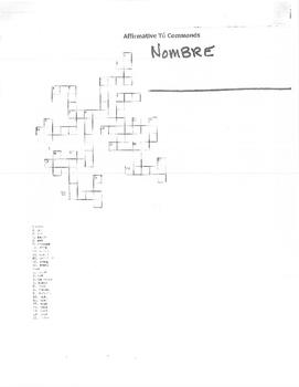 Spanish 1: Affirmative tú Commands Crossword