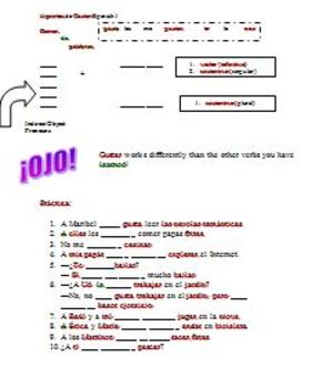 Spanish I-Basic Notes on verb Gustar with practice