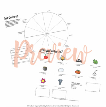Spanish I Binder Handout: Colors / Los Colores