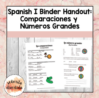 Spanish I Binder Handout: Comparisons & Large Numbers