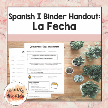 Spanish I Binder Handout: Dates