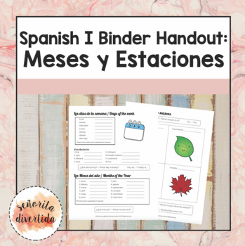 Spanish I Binder Handout: Days-Months-Seasons