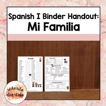 Spanish I Binder Handout: La Familia / Family