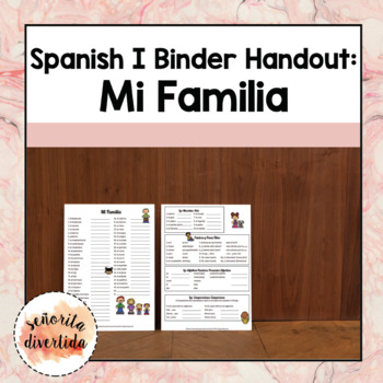 Spanish I Binder Handout: Family