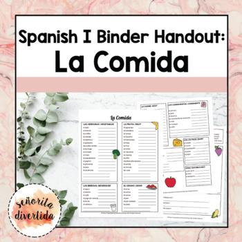 Spanish I Binder Handout: Comida Favorita / Favorite Food