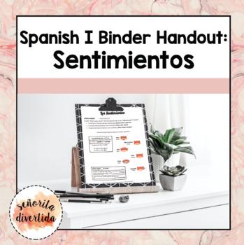 Spanish I Binder Handout: Feelings