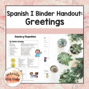 Spanish I Binder Handout: Los Saludos / Greetings