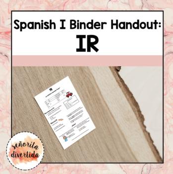 Spanish I Binder Handout: El Verbo IR / The Verb IR