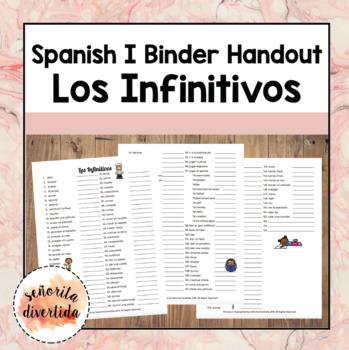 Spanish I Binder Handout: Los Infinitivos / Infinitives
