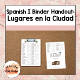 Spanish I Binder Handout: Los Lugares en la Ciudad / Places in the City