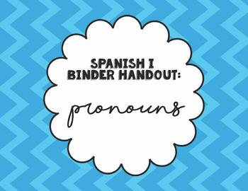 Spanish I Binder Handout: Pronouns