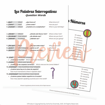 Spanish I Binder Handout: Question Words and Numbers