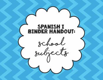 Spanish I Binder Handout: School Schedule