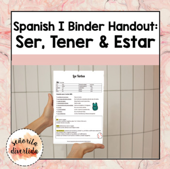 Spanish I Binder Handout: Ser-Tener-Estar