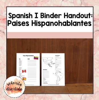 Spanish I Binder Handout: Spanish-speaking Countries