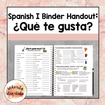 Spanish I Binder Handout: Gustar- What do you like to do?