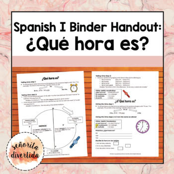 Spanish I Binder Handout: ¿Qué hora es? / What time is it?