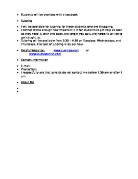 Spanish I Course Procedures and Rules