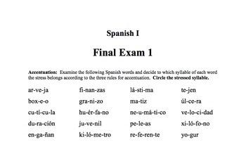 Spanish I Final Exam 1