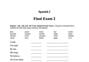 Spanish I Final Exams 1 & 2