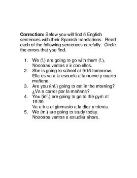 Spanish I Grammar Correction Activity