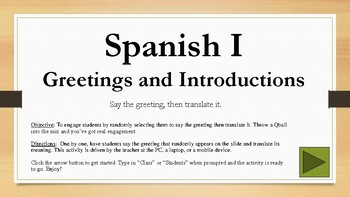 PPTM - Spanish I: Greetings and Introductions (randomized activity)