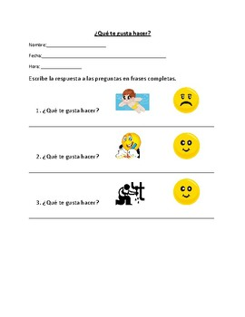 Spanish I - Likes and Dislikes Writing Assessment (Realidades 1A)