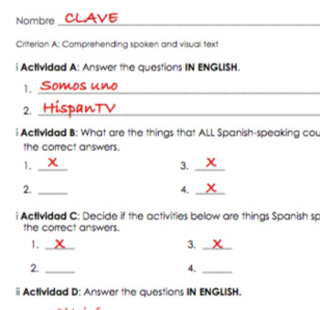 Spanish I Listening Assessment - Countries and Culture