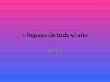 Spanish I. Mid year review game. BRAVO