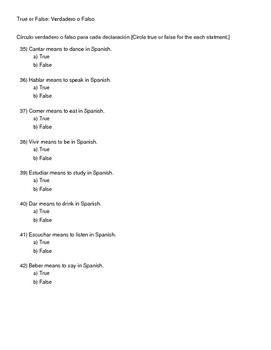 Spanish I Present Tense Verbs & Numbers Exam