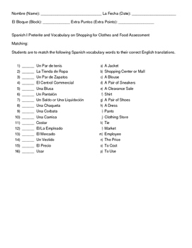 Spanish I Preterite Translations & Shopping & Food Vocabulary Exam