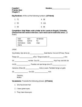Spanish I Quiz Family/Chapter 5 Paso a Paso